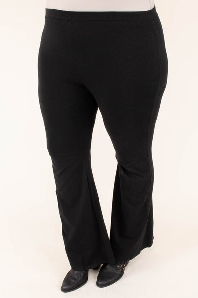 pants, black, solid, flare, stretchy