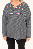 shirt, long sleeve, black, white, stripe, cut out vneck, embroidered chest, multicolored embroidery, fall, winter