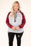 top, hoodie, long sleeves, gray, hood, tie neck, black, red, buffalo plaid
