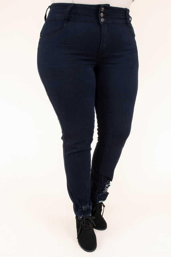 jeggings, long, skinny, distressed ankles, dark blue