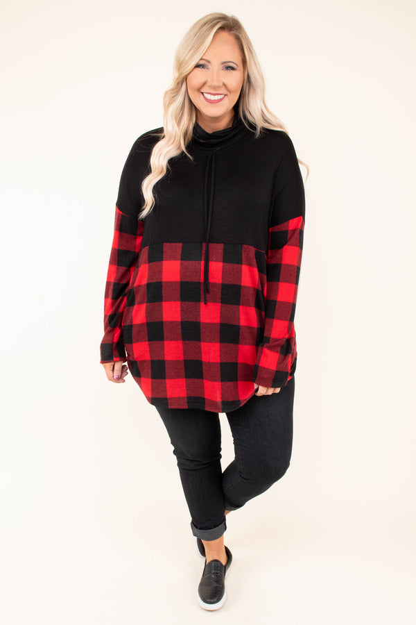 pullover, long sleeves, cowl neck, drawstring collar, black, red, plaid, black top half, long, comfy, cozy, fall, winter, outerwear