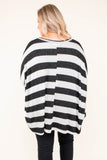 shirt, long sleeve, black, white, stripe, dropped shoulders, long, flowy, loose, fall, winter