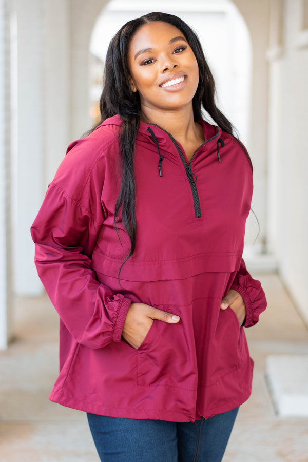 windbreaker, long sleeve, hood, front pockets, quarter zip, burgundy, solid, outerwear