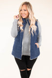 vest, navy, solid, white lining, fuzzy lining, quilted, zipper, collar, warm, cozy, outerwear, fall, winter