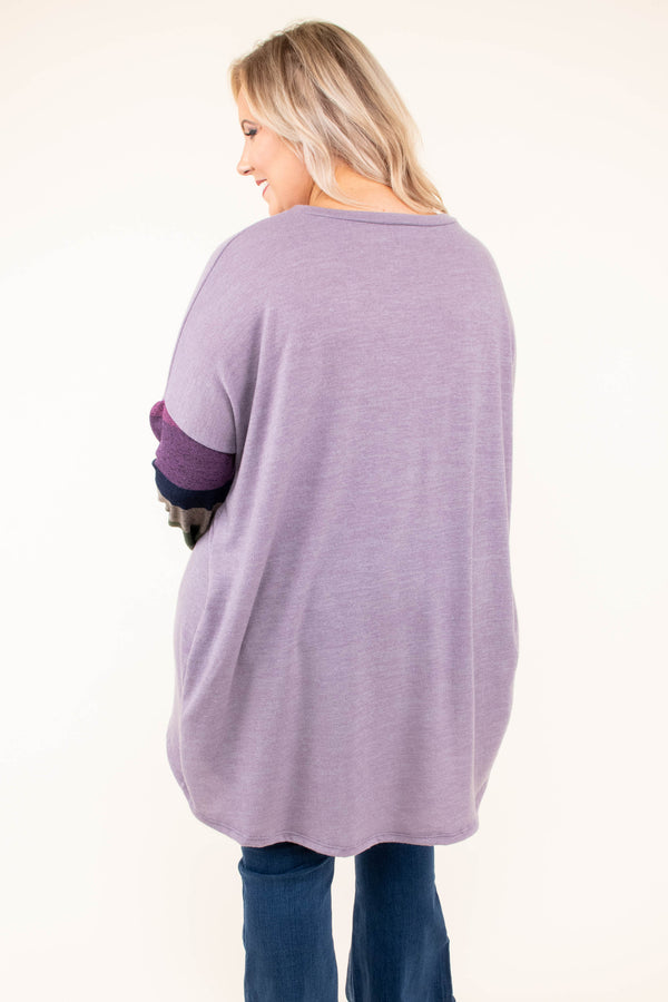 shirt, long sleeve, purple, striped sleeves, green, blue, flowy, pockets, soft