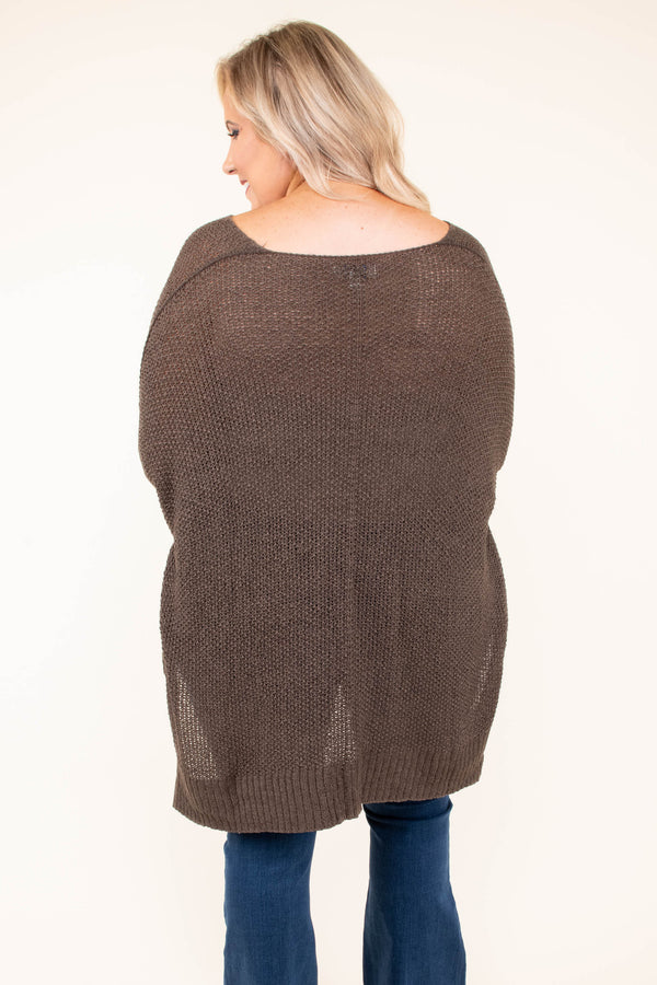 sweater, brown, solid, three quarter sleeves, short front, long back, vneck, cuffed sleeve, loose, fall, winter