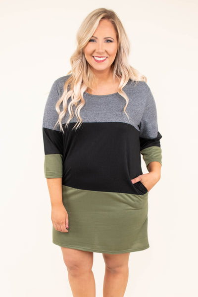 dress, short, three quarter sleeves, gray, black, olive, colorblock, form fitting, fall, winter