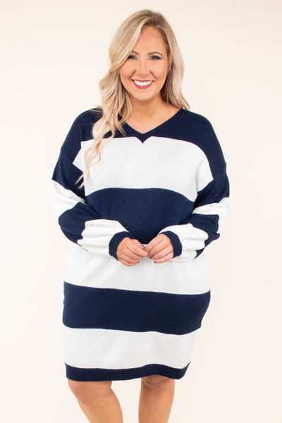 dress, short, long sleeves, navy, white, colorblock, bubble sleeves, form fitting, vneck, fall, winter