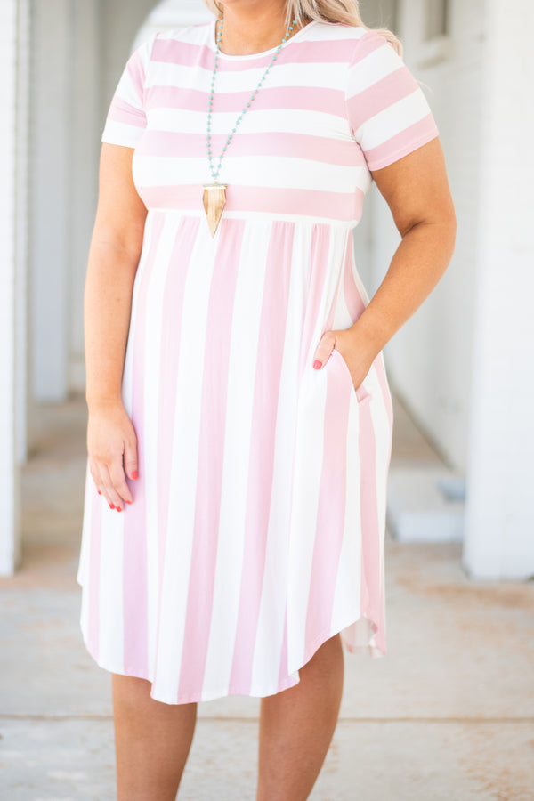 dress, midi, short sleeve, curved hem, fitted top, pockets, flowy skirt, pink, white, striped, comfy