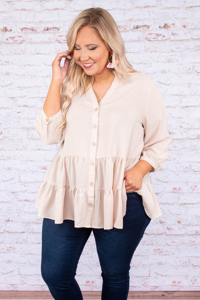blouse, three quarter sleeves, sand, light brown, babydoll, flowy, tunic, spring, fall, vneck, buttons