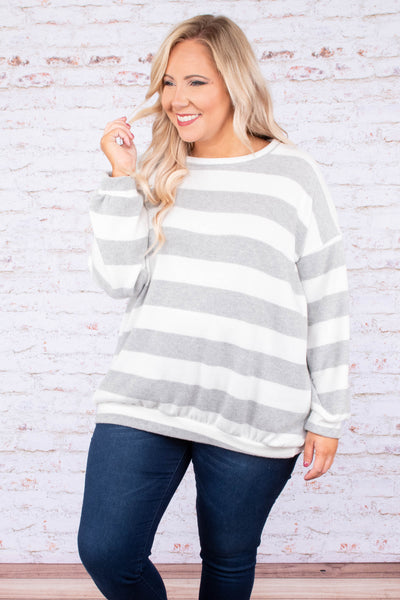 sweater, gray, white, stripes, long sleeve, warm, cozy, comfy, cold weather, fall, winter