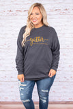 shirt, long sleeve, charcoal, graphic, gather, comfy, cozy, fall