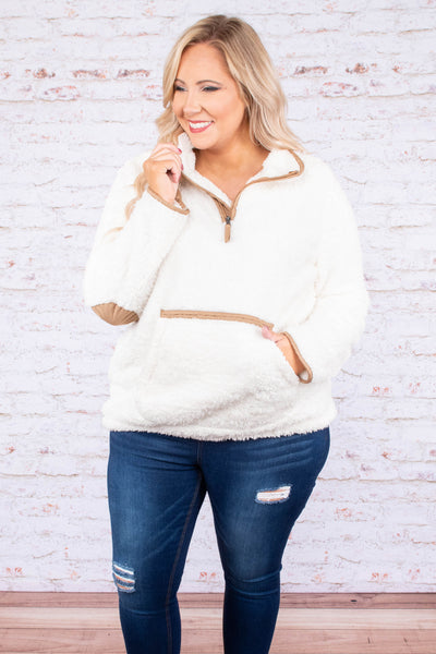 pullover, long sleeves, white, tan accents, elbow patches, front pocket, three quarter zip, fuzzy, warm, cozy, outerwear, fall, winter