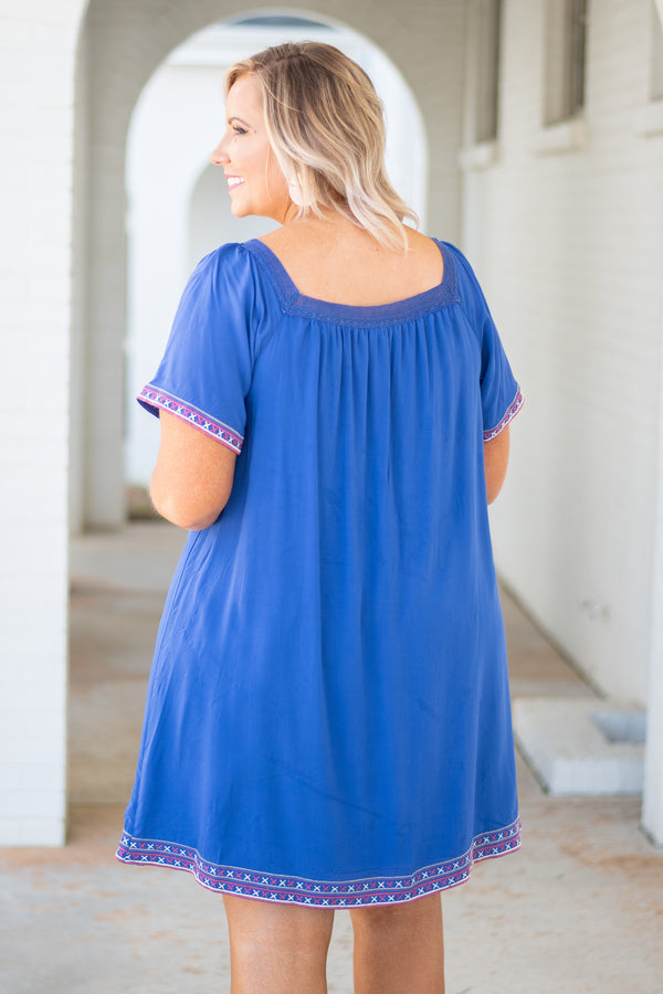 dress, short, short sleeve, scoop neck, blue, flowy, embroidered hems, flowy sleeves, spring, summer