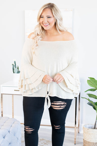 shirt, white, solid, long sleeve, bell sleeves, ruffle sleeves, off the shoulder, tie front