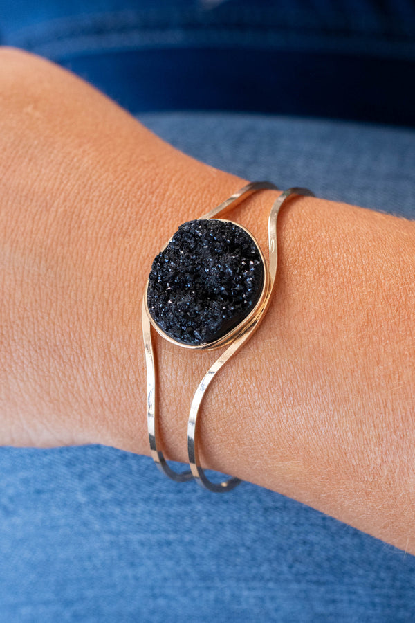 bracelet, cuff style, gold metal, black crystal