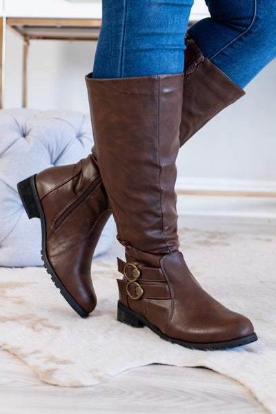 boots, tall, brown, solid, buckle detail, low heel, zippered side