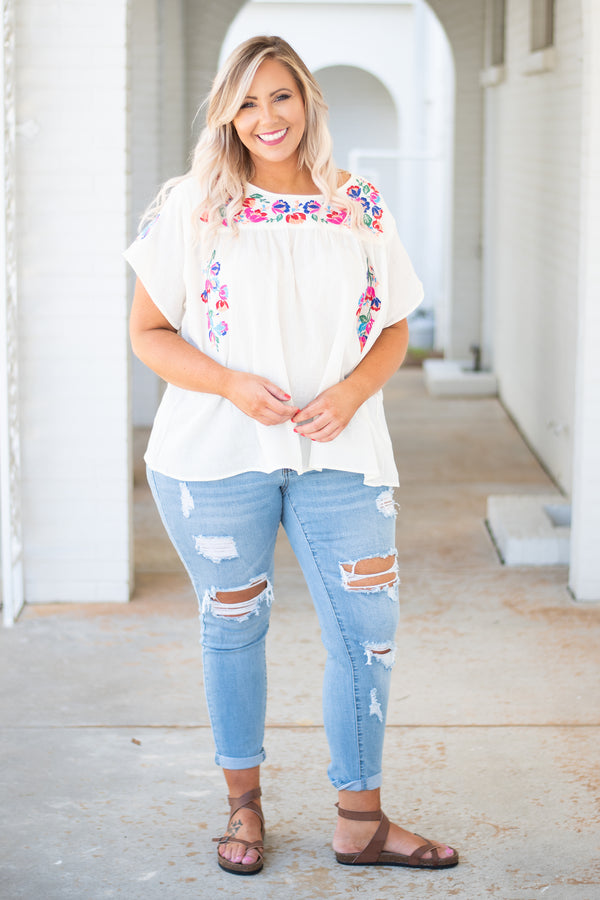 shirt, short sleeve, short, flowy, white, embroidery, pink, green, blue, comfy