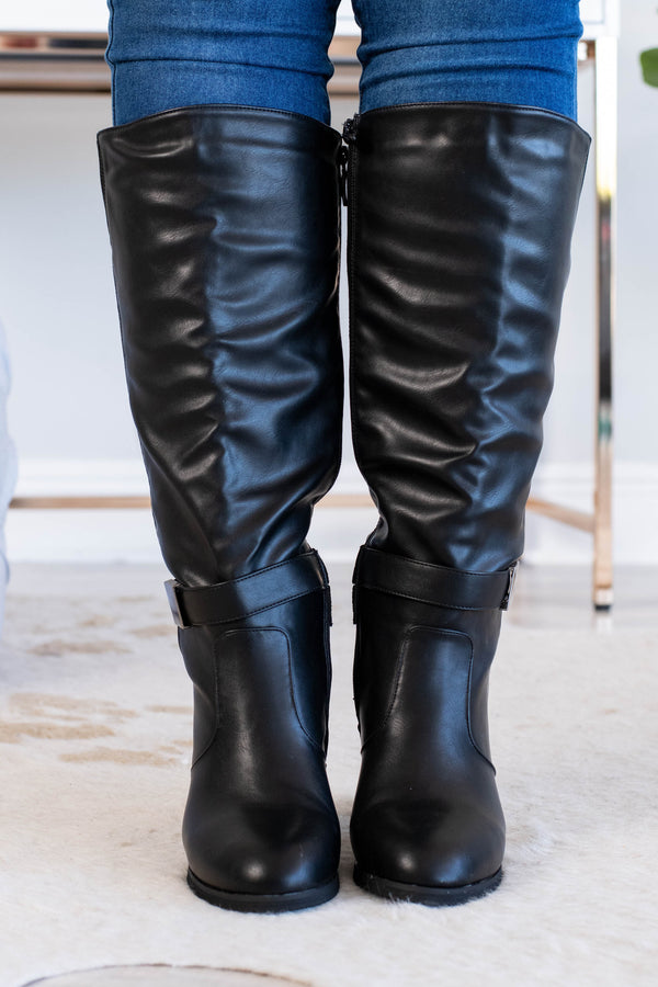 boots, tall, black, tall heel, buckle detail, zippered side, fall, winter