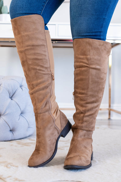 boots, tall, zippered back, zippered side, tan, soft, high knee, fall, winter