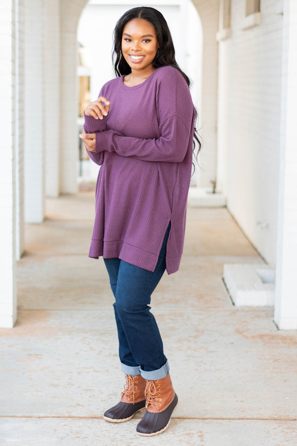 tunic, long sleeve, long, side slits, waffle knit, purple, comfy, flowy, fall, winter