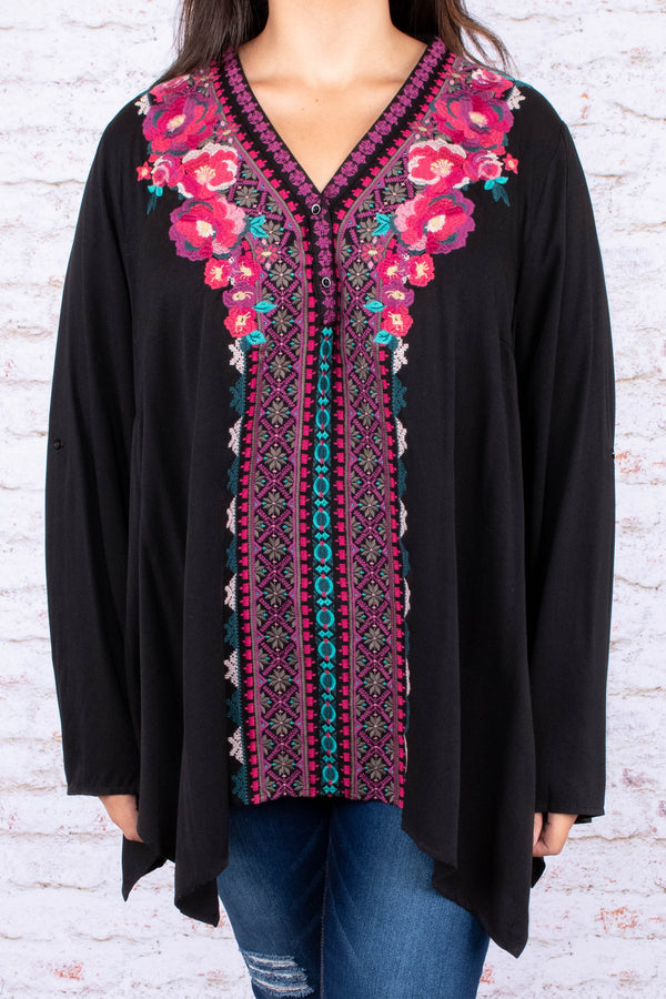 short, long sleeves, long, vneck, loose sleeves, flowy, black, embroidery, pink, blue, purple, asymmetrical hem, fall, winter