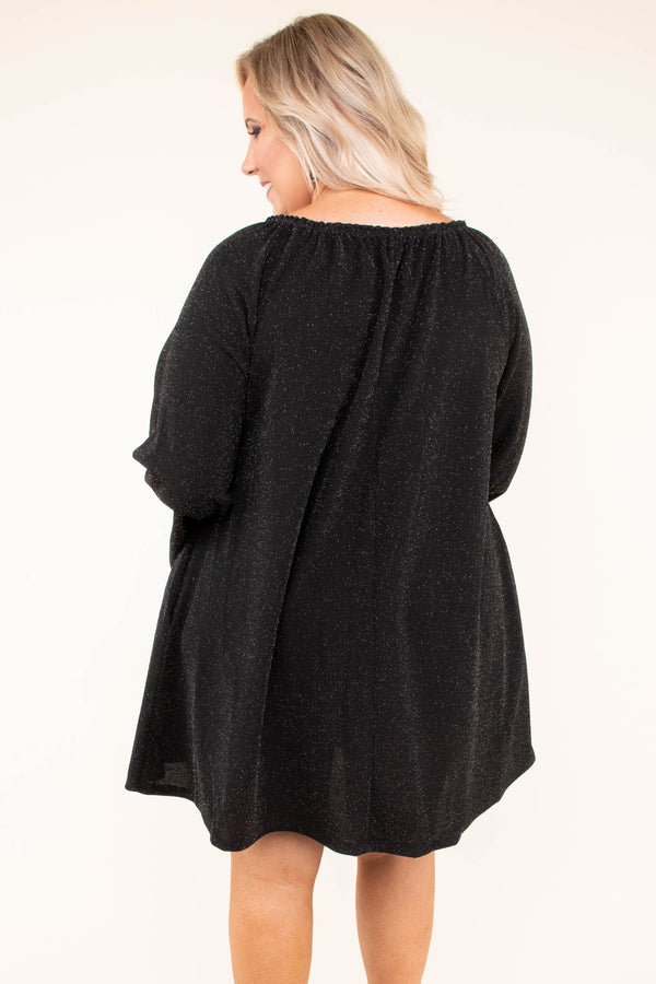 dress, short, long sleeves, bell sleeves, black, solid, peep hole neckline, flowy, fall, winter
