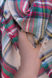 scarf, gray, yellow, brown, red, green, plaid, fringe, fall, winter