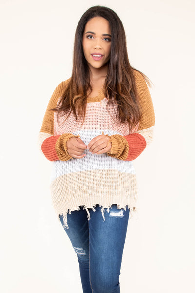 sweater, long sleeve, distressed, frayed, vneck, mustard, pink, white, tan, orange, colorblock, comfy, fall, winter