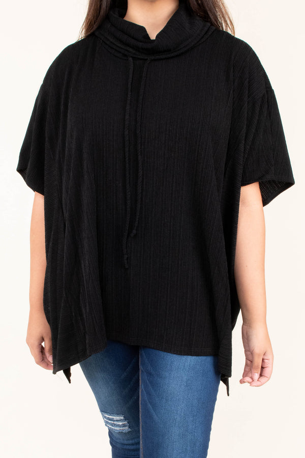 tunic, short sleeve, cowl neck, drawstring neck, flowy, black, solid, fall, winter