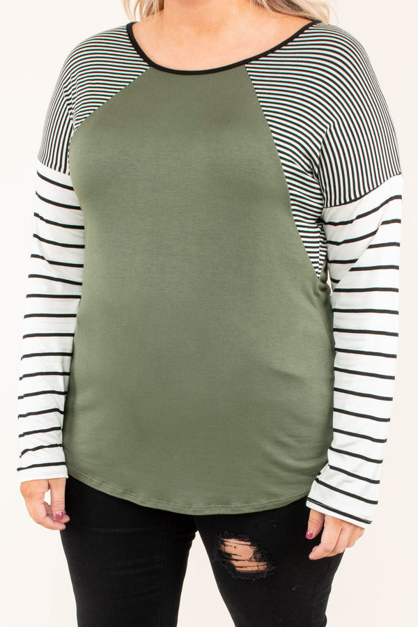 shirt, long sleeves, olive torso, white, black, striped sleeves, curved hem, comfy, fall, winter