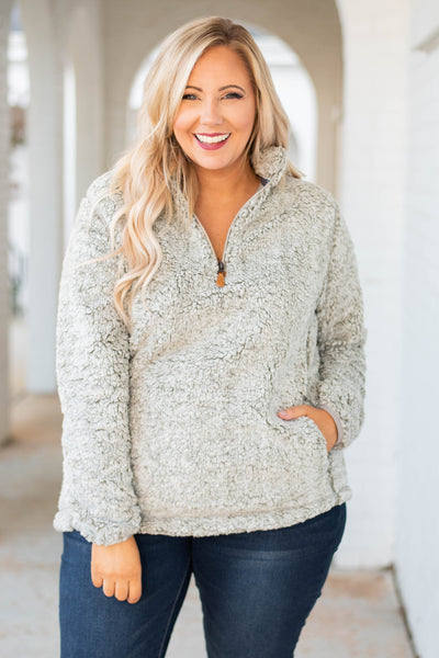 pullover, long sleeve, quarter zip, gray, fuzzy, comfy, outerwear, fall, winter