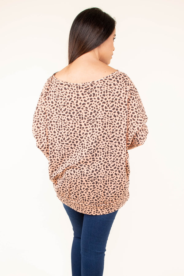 shirt, three quarter sleeve, puffy sleeves, loose, taupe, brown, leopard, comfy, fall, winter