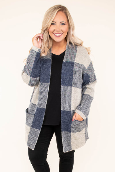 cardigan, long sleeves, pockets, navy, tan, plaid, thick, warm, comfy, fall, winter, outerwear