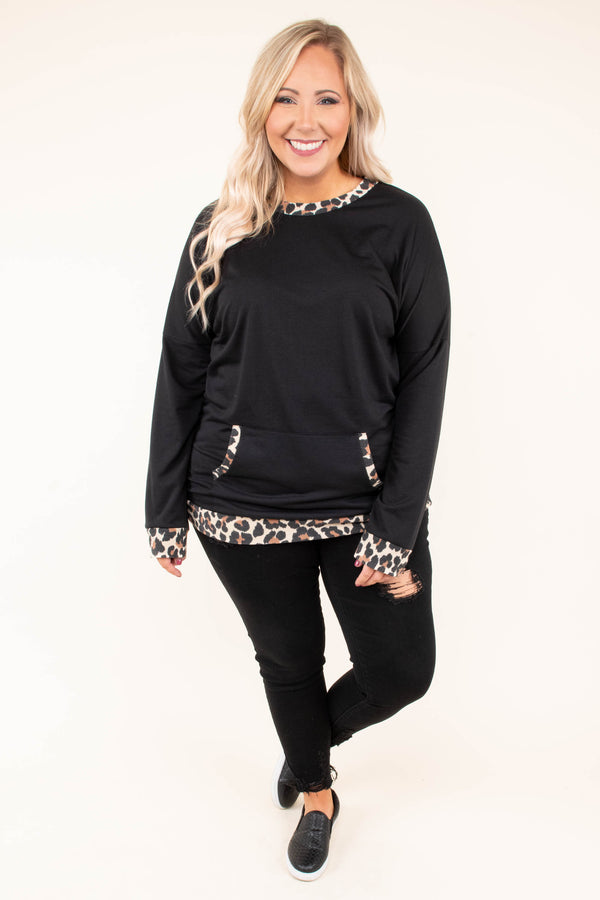pullover, long sleeves, front pocket, black, leopard trim, comfy, fall, winter, outerwear