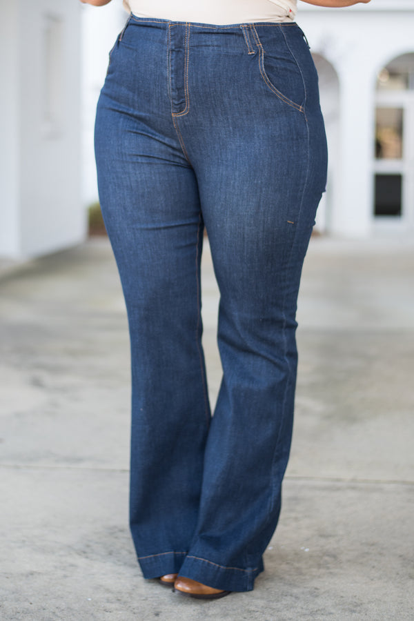 jeans, pants, bottoms, blue, dark wash, flare