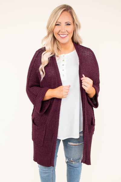 cardigan, three quarter sleeves, bell sleeve, pockets, long, eggplant, solid, sweater material, comfy, cozy, flowy, fall, winter