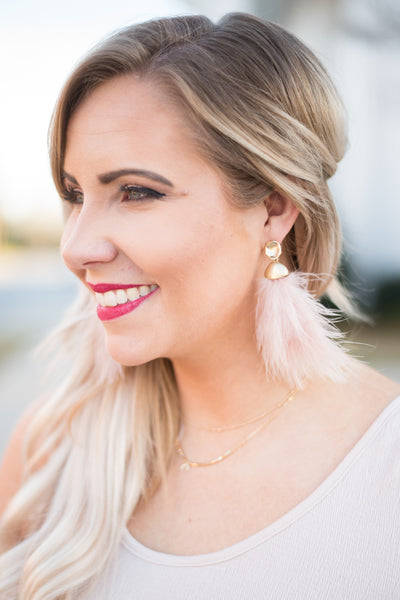 Regan Allison Designs: Light As A Feather Earrings, Pink