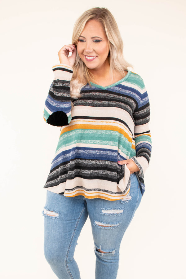shirt, long sleeves, vneck, elbow patches, green, blue, brown, black, yellow, stripes, flowy, soft