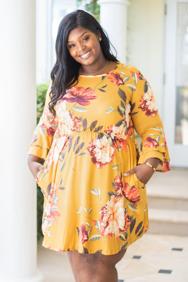 dress, short, three quarter sleeve, babydoll, bell sleeves, flowy, pockets, mustard, floral, red, green, white, orange, comfy