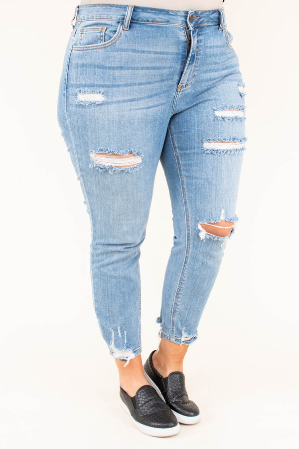 jeans, light wash, blue, distressed, ripped, skinny