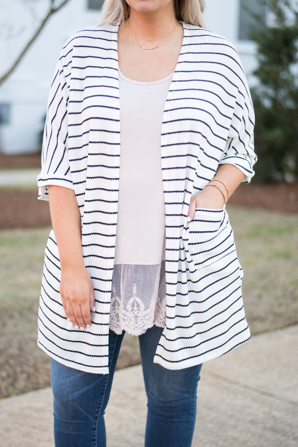 cardigan, short sleeve, kimono, white, black stripes, pockets, lightweight