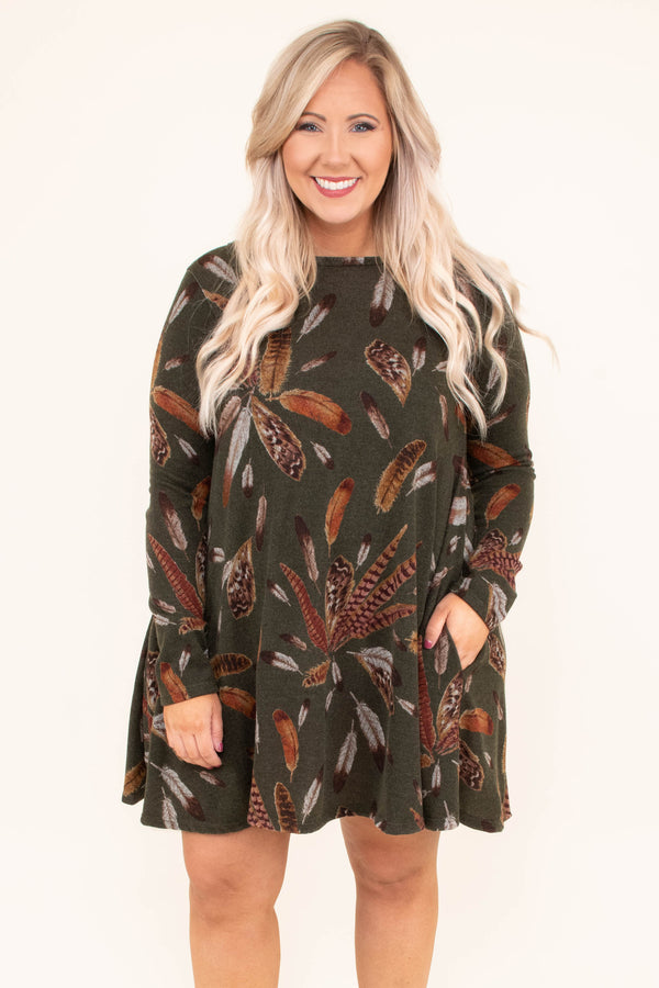 dress, short, long sleeve, green, brown, feathers, fall
