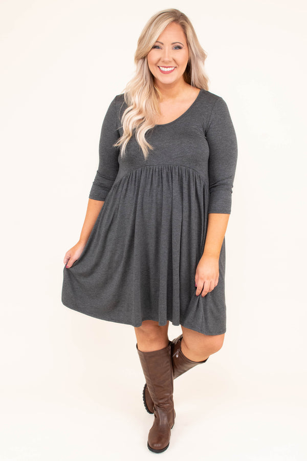 dress, short, three quarter sleeves, babydoll, gray, solid, flowy, comfy