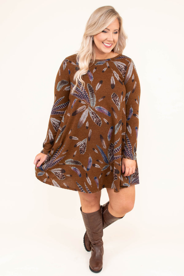 dress, short, long sleeve, mustard, brown, feathers, loose, comfy, flowy, fall, winter