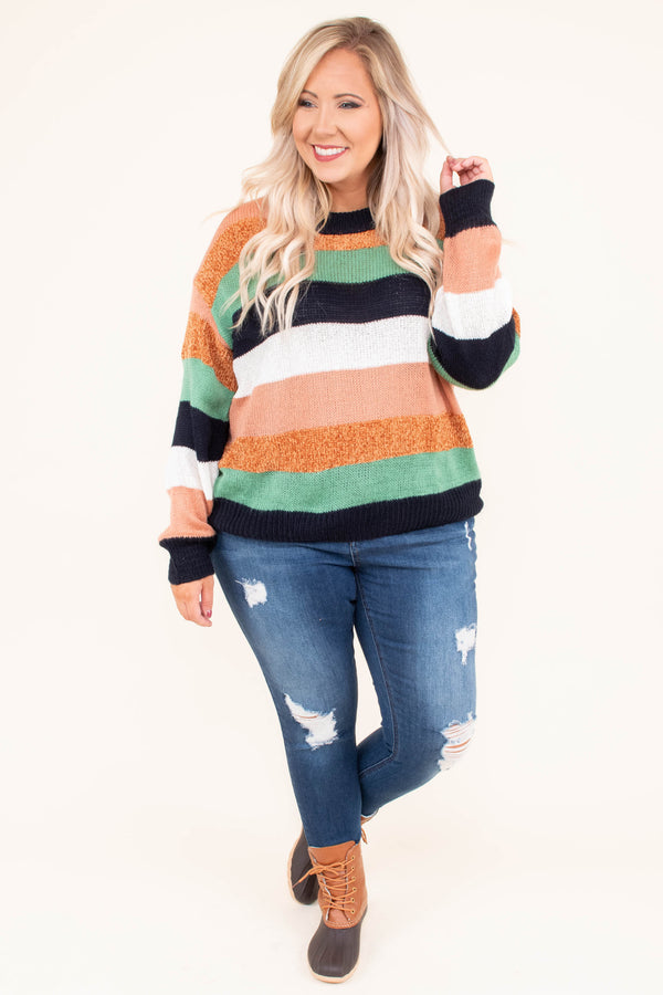 sweater, long sleeves, navy, peach, white, green, mustard, striped, short, comfy, cozy, fall, winter