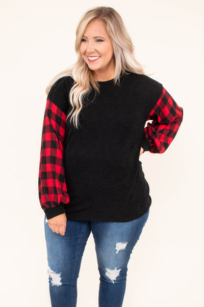 shirt, long sleeve, bubble sleeves, black torso, red, plaid, plaid sleeves, curved hem, comfy, fall, winter
