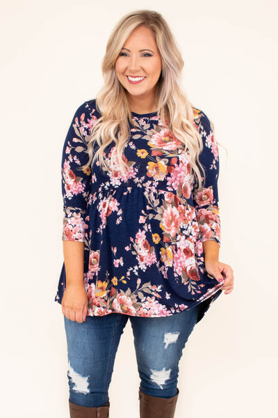shirt, three quarter sleeves, babydoll, navy, pink, yellow, floral, flowy, longer back, comfy