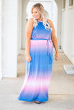 dress, maxi, tank top, pockets, tie waist, blue, pink, ombre
