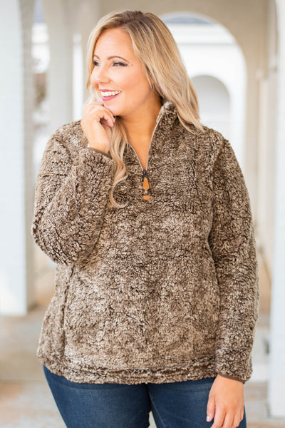 pullover, long sleeve, quarter zip, brown, fuzzy, comfy, outerwear, fall, winter